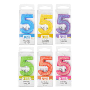Candle: Number Birthday Candles with Glitter Assorted Colors - Art Is In Cakes, Bakery & SupplyCandles5