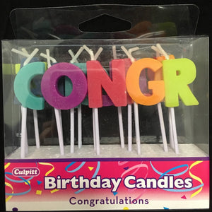 "Candles "" Congratulations "" in Rainbow Letters - Art Is In Cakes, Bakery & SupplyCandlesDefault Title"