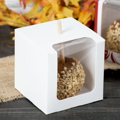 Caramel Apple Box with Front Viewport Window and Top Stick Hole in White 4x4x4 - Art Is In Cakes, Bakery & SupplyBoxes and BagsDefault Title