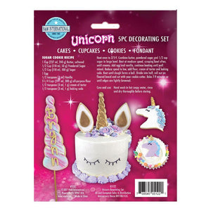 It includes 5 pieces of Tinplated Steel cookie cutters designed to create all the parts for a perfect Unicorn cake and matching cupcakes or cookies.