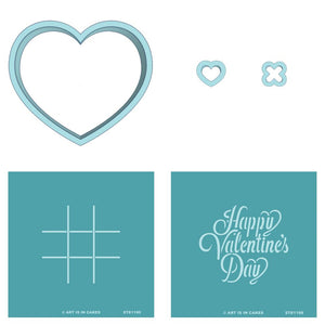 Cookie Cutter Stencil Sets Heart Wide Heart Tiny X Tiny STE1189 / STE1190 Happy Valentine's Day and Tic Tac Toe - Art Is In Cakes, Bakery & SupplyStencil3 Cutters + 2 Stencil Set