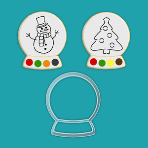 Cookie Cutter Stencil Sets PYO Snowglobe STE1184 / 1185 Paint Your Own Snowman and Christmas Tree - Art Is In Cakes, Bakery & SupplyStencil1 Cutter + 2 Stencil Set