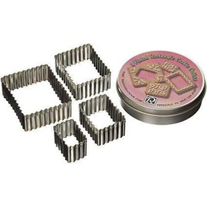 Cookie Cutters 4ct Fluted Rectangle Scalloped Edge Set in a Tin - Art Is In Cakes, Bakery & SupplyCookie CutterDefault Title