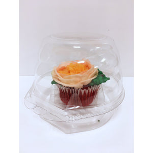 Cupcake Container Jumbo Single Muffin or Standard Holder, Hinged Clear, With High Dome Perfectly Displays a Single Cupcake or Muffin.