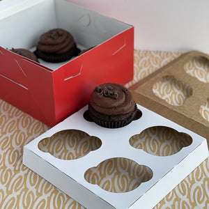 4 count cupcake insert securely holds your cupcakes, muffins, or other baked treats inside a 7in by 7in bakery box.