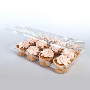 This sturdy, clear plastic container with hinged lid holds up to 12 cupcakes or mini muffins.