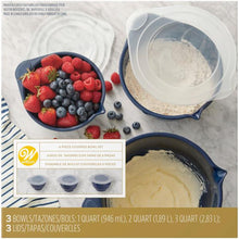 Mixing Bowls, Set of 3 with Lids, Nesting Set in Navy Blue - Art Is In Cakes, Bakery & SupplyKitchen ToolsDefault Title