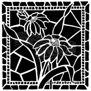 Stained Glass Daisies 6x6 Stencil - Art Is In Cakes, Bakery & SupplyStencilDefault Title