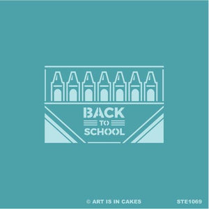 Stencil Back to School - Crayon box - 5.5 x 5.5 Inches - Art Is In Cakes, Bakery & SupplyStencilDefault Title