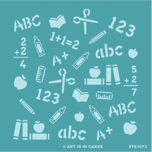 Stencil Back to School - School Pattern - 5.5 x 5.5 Inches - Art Is In Cakes, Bakery & SupplyStencilDefault Title
