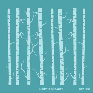 Stencil - Birch Trees with Limbs - STE1138 - 5.5 x 5.5 Inches - Art Is In Cakes, Bakery & SupplyStencilDefault Title