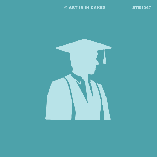 Stencil Graduation Male Silhouette 5.5 x 5.5 Inches - Art Is In Cakes, Bakery & SupplyStencilDefault Title