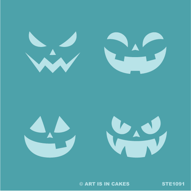 Stencil - Halloween - Multi Pumpkin Faces - 5.5 x 5.5 Inches - Art Is In Cakes, Bakery & SupplyStencilDefault Title