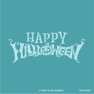 Stencil - Happy Halloween - 5.5 x 5.5 Inches - Art Is In Cakes, Bakery & SupplyStencilDefault Title