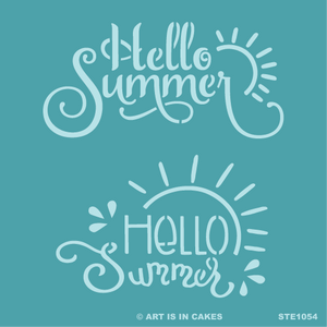 Stencil Hello Summer Duo 5.5 x 5.5 Inches - Art Is In Cakes, Bakery & SupplyStencilDefault Title