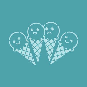 Stencil Ice Cream Cones Cute STE1197 5.5 x 5.5 Inches - Art Is In Cakes, Bakery & SupplyStencilDefault Title