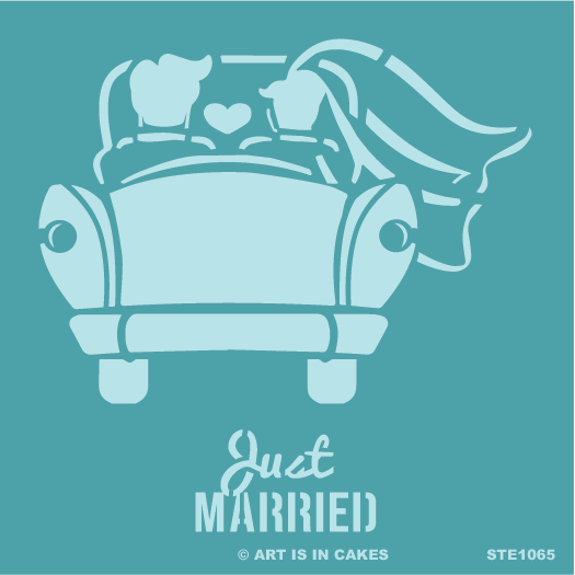 Stencil Just Married Bride & Groom in Car 5.5 x 5.5 Inches - Art Is In Cakes, Bakery & SupplyStencilDefault Title