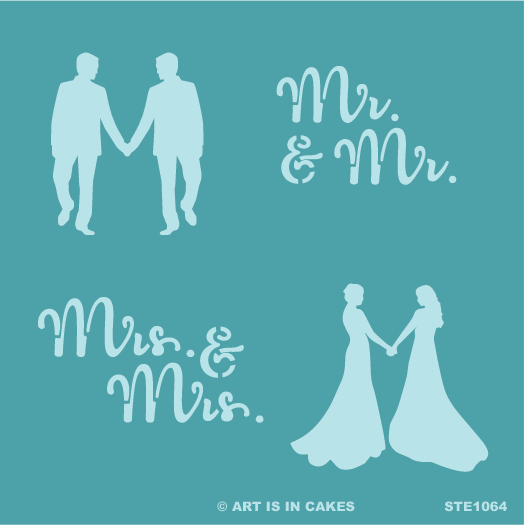 Stencil Marriage Multi: Mr. & Mr. + groom silhouette and Mrs. & Mrs. + bride silhouette 5.5 x 5.5 Inches - Art Is In Cakes, Bakery & SupplyStencilDefault Title
