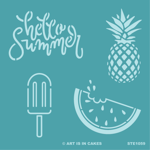Stencil Summer Multi 5.5 x 5.5 Inches - Art Is In Cakes, Bakery & SupplyStencilDefault Title