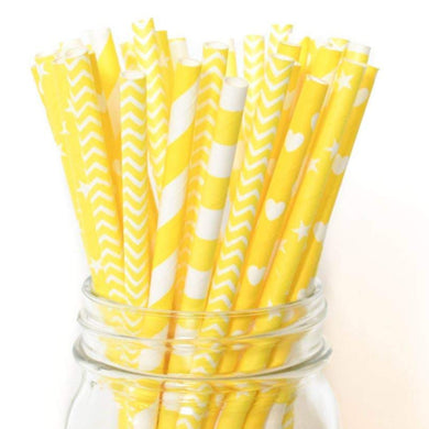 Straws Yellow Party Assortment Paper Straw for Cake Pops, Caramel Apples, or for Sipping 25 count - Art Is In Cakes, Bakery & SupplyParty Supplies & StrawsDefault Title
