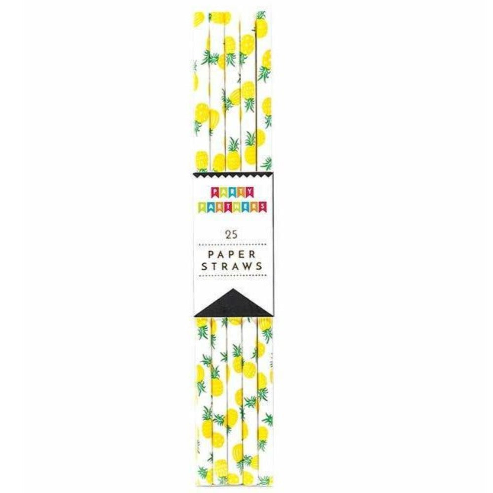 Straws Yellow Pinapples Paper Straw for Cake Pops, Caramel Apples, or for Sipping 25 count - Art Is In Cakes, Bakery & SupplyParty Supplies & StrawsDefault Title