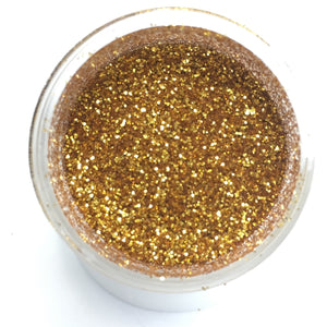Techno Glitter in Gold, a Decorative Glitter for your Cakes, Cupcakes, and Desserts - Art Is In Cakes, Bakery & SupplySprinklesCelebakes Label