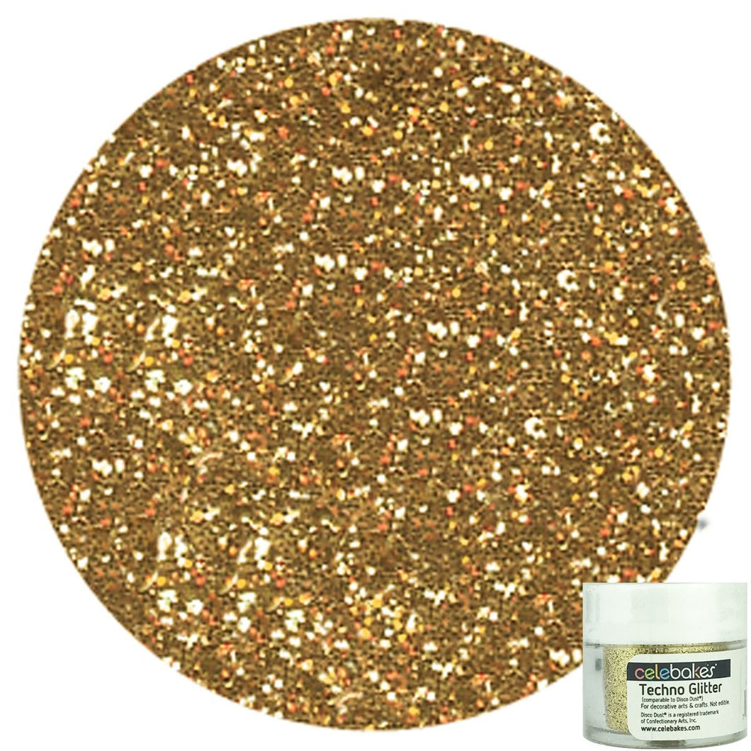 Techno Glitter in Soft Gold, a Decorative Glitter for your Cakes, Cupcakes, and Desserts - Art Is In Cakes, Bakery & SupplySprinklesNew Style