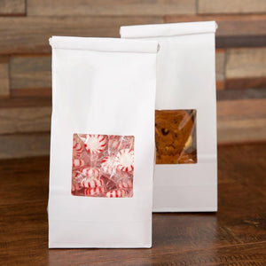 Treat Bags Greaseproof Plastic Lined White Bag With Clear Window And Fold Over Tin Tie Top - Art Is In Cakes, Bakery & SupplyBoxes and BagsKraft 9.5t x 4.25w - single piece