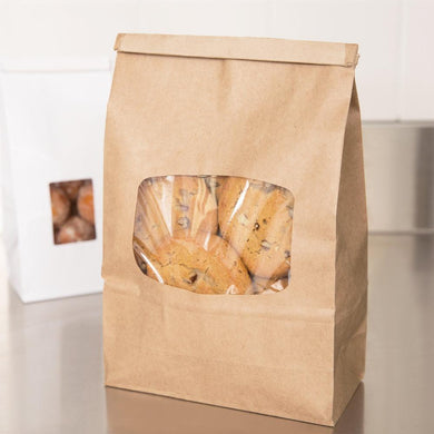 Treat Bags Large Greaseproof Plastic Lined Large Kraft Bag With Clear Window And Fold Over Tin Tie Top - Art Is In Cakes, Bakery & SupplyBoxes and BagsKraft 9.5t x 6w - single piece