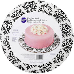 "Wilton 12"" Round Grease Proof Decorative Cake Support Board 3pack - Art Is In Cakes, Bakery & SupplyCake BoardsDamask pattern"