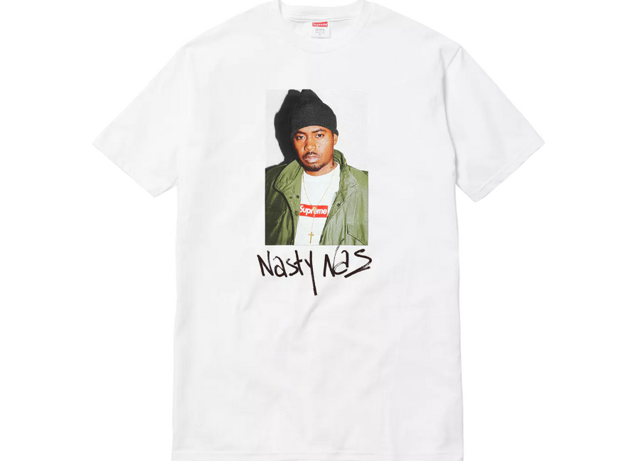 WHITE Supreme nas photo tee hippop T-shirt