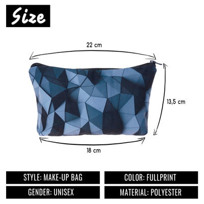 Black 3d triangles women cosmetic bag