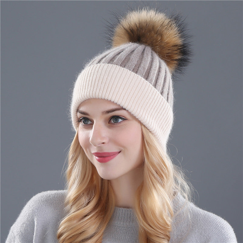 Wool knitted hat real mink fur