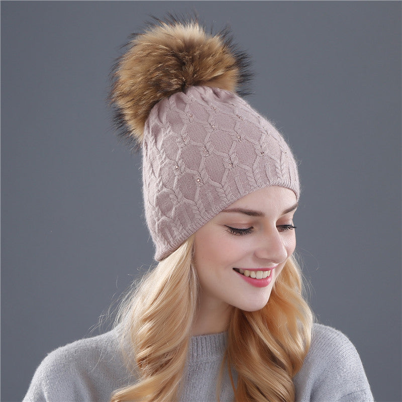 Hat for women woolreal mink fur
