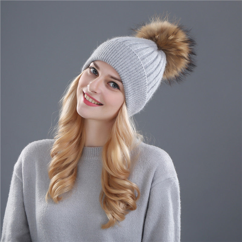 winter hat for women wool real mink fur