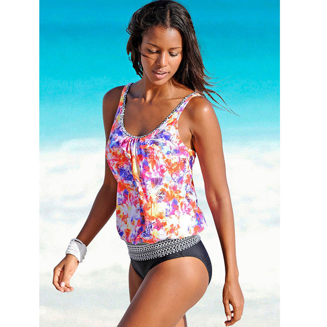 Two Piece Print Beach Swimming Suit For Women Plus Size Swimwear