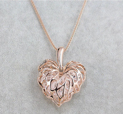 Gold Silver Heart Crystal Rhinestone Pendant Long Chain Necklace