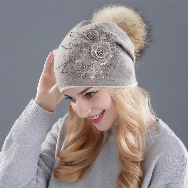 Rabbit fur wool knitted hat the female of the mink hats