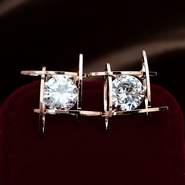 Fashion Exquisite Square Pierced Crystal Zircon - buyaddict