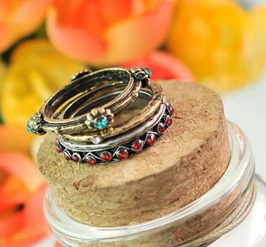 4pcs\set  Retro Vintage Punk Colorful Crystal  Ring