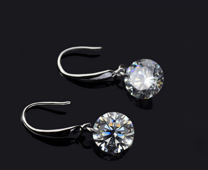 Crystal Hook Dangle Earrings Elegant Women Statement Drop Earrings