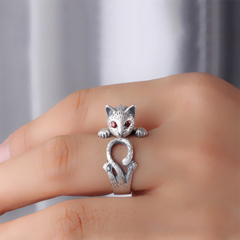 Fashion New Fortune Cat Animal Head Ring Adjustable Gift - buyaddict