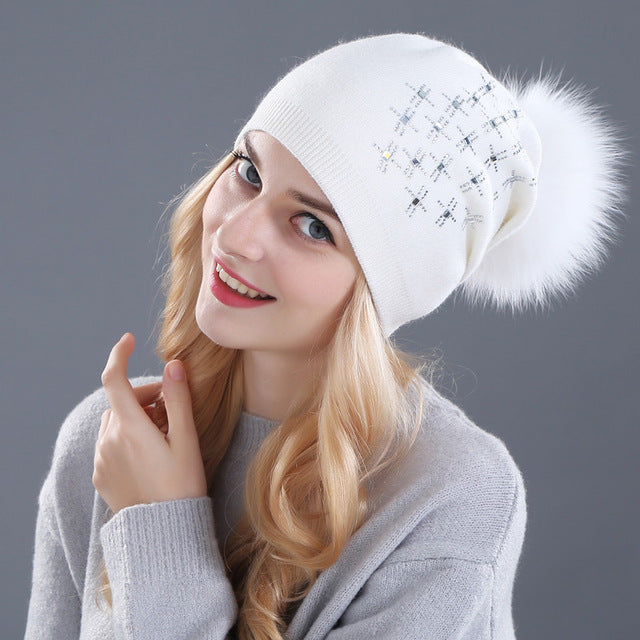 hat Rabbit fur wool knitted hat Shining Rhinestone the female of the mink