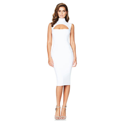 Bodycon Bandage Dress Casual Midi Dress Black White