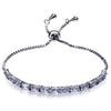 Party Bracelet Adjustable Length Prong Square  Cubic Zirconia