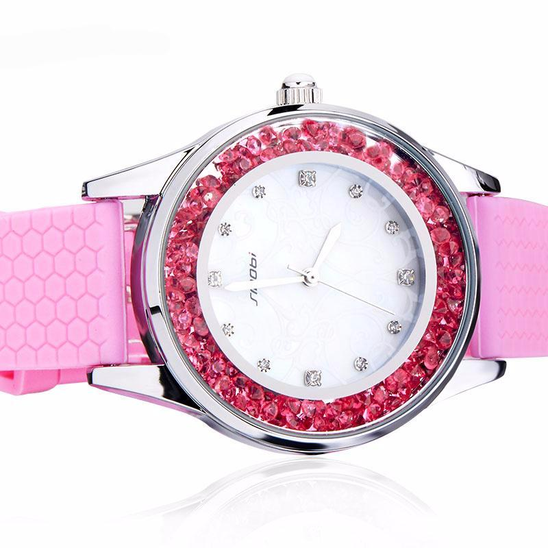 Silicone Pink Crystal Dial Hour For Young Lady
