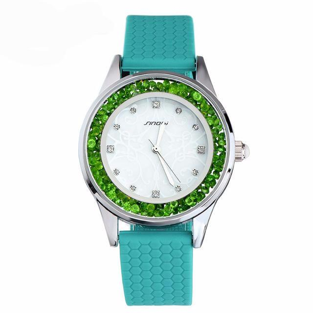 Silicone Crystal Dial Hour For Young Lady