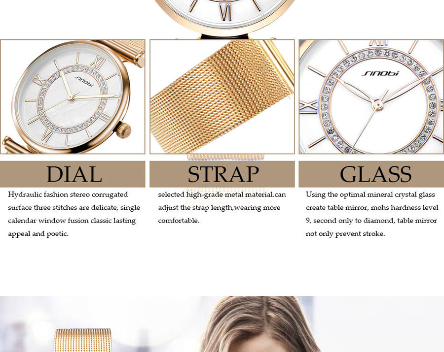Diamond Wrist Watche Top Luxury Brand  Crystal Quartz Wristwatch