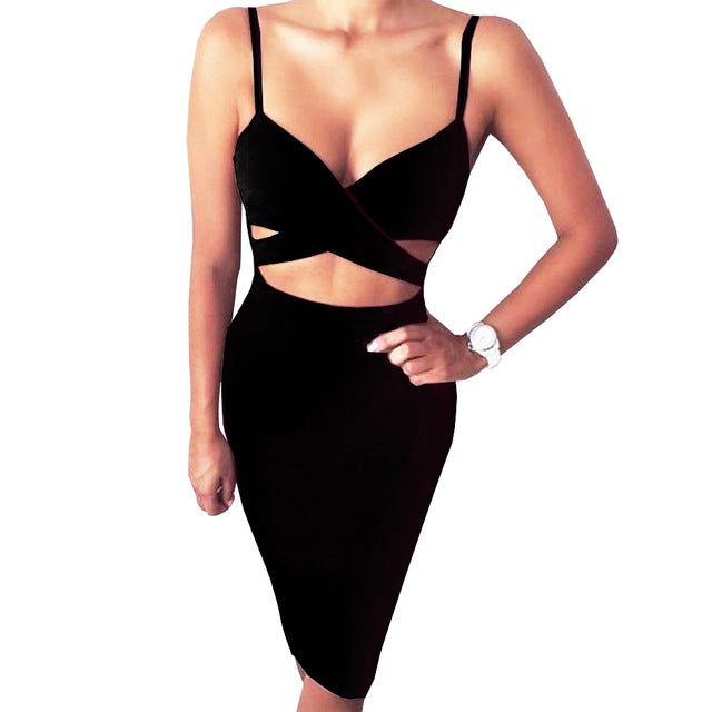 Spaghetti Strap Cut Out Bodycon Dress