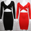 Long Sleeve Elastic Cotton Warm Bodycon Bandage Dress